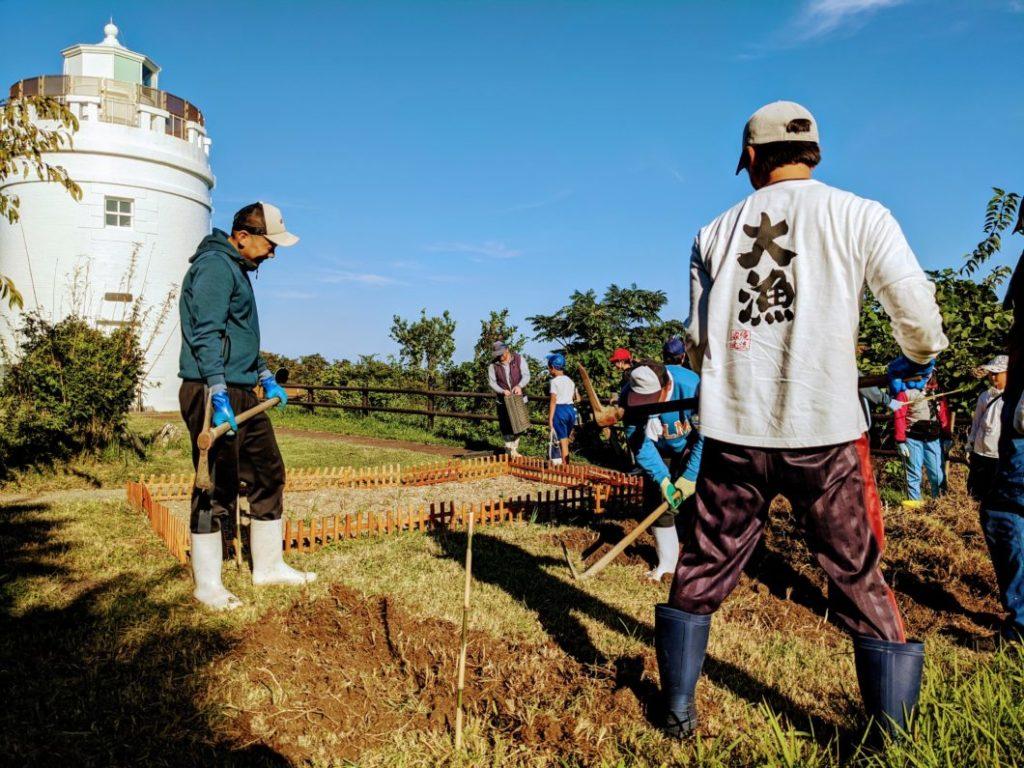 菅島灯台に水仙の花壇を作るために土を掘り返す様子