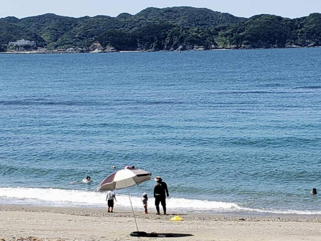 しろんご浜で泳ぐ菅島お試し移住ツアー参加者